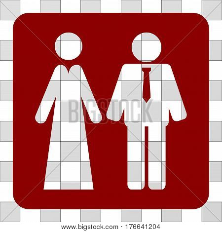 Newlyweds rounded icon. Vector pictograph style is a flat symbol hole centered in a rounded square shape, dark red color.