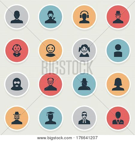 Vector Illustration Set Of Simple Avatar Icons. Elements Male With Headphone, Agent, Internet Profile And Other Synonyms Whiskers, Female And Male.
