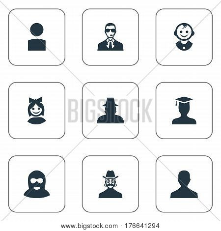 Vector Illustration Set Of Simple Member Icons. Elements Agent, Bodyguard, Girl Face And Other Synonyms Member, Student And Face.