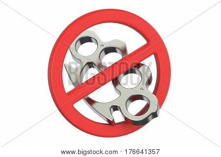Brass knuckles with forbidden sign 3D rendering isolated on white background
