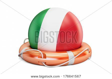 Lifebelt with Italy flag safe help and protect concept. 3D rendering