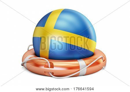 Lifebelt with Sweden flag safe help and protect concept. 3D rendering
