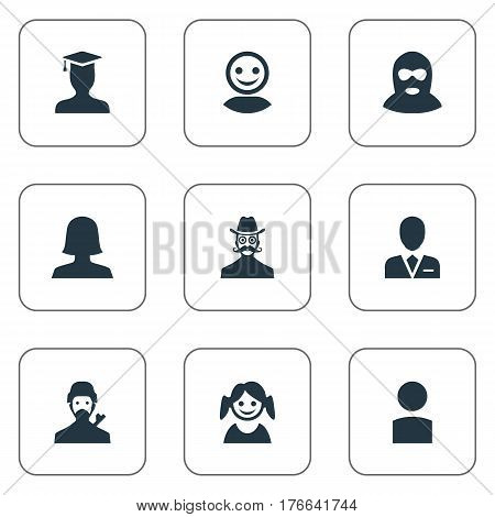 Vector Illustration Set Of Simple Avatar Icons. Elements Workman, Insider, Mysterious Man And Other Synonyms Business, Web And Mysterious.