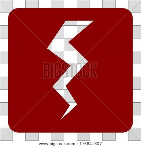 Thunder Crack interface icon. Vector pictogram style is a flat symbol hole on a rounded square shape, dark red color.