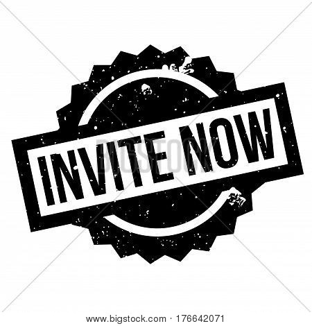 Invite Now rubber stamp. Grunge design with dust scratches. Effects can be easily removed for a clean, crisp look. Color is easily changed.