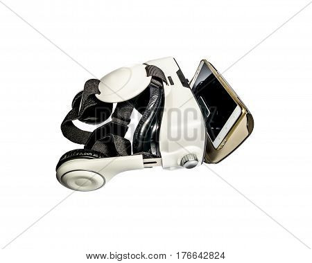 Virtual reality helmet shot isolated on a white background