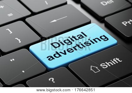 Marketing concept: computer keyboard with word Digital Advertising, selected focus on enter button background, 3D rendering