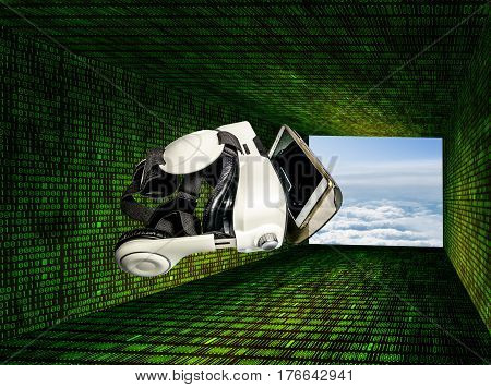 Helmet of virtual reality with smartphone against the background of running matrix figures