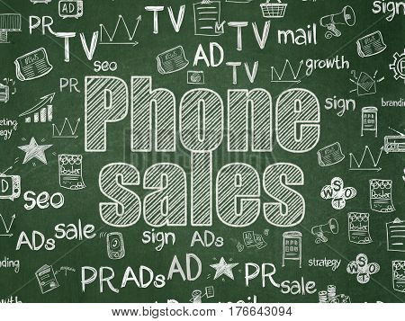 Marketing concept: Chalk White text Phone Sales on School board background with  Hand Drawn Marketing Icons, School Board