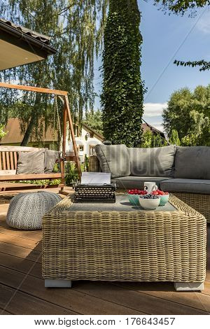 Villa Patio With Modern Rattan Table