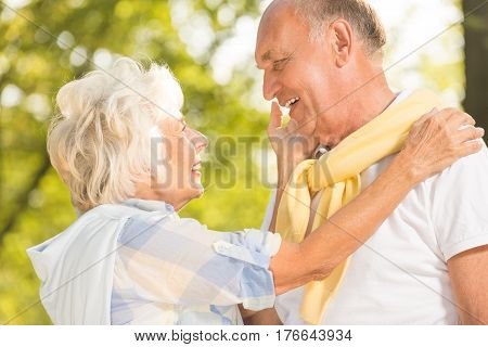 Happy Senior Marriage In Park