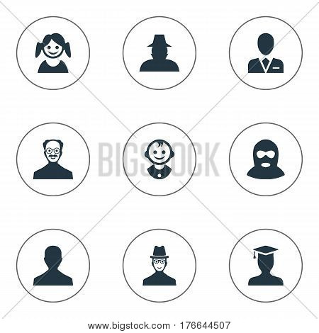Vector Illustration Set Of Simple Avatar Icons. Elements Workman, Male User, Young Shaver And Other Synonyms Mustaches, Spy And Inspector.