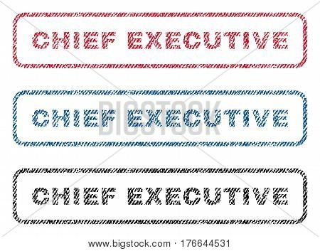 Chief Executive text textile seal stamp watermarks. Blue, red, black fabric vectorized texture. Vector tag inside rounded rectangular shape. Rubber emblem with fiber textile structure.