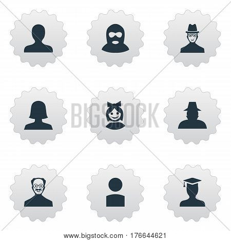 Vector Illustration Set Of Simple Avatar Icons. Elements Insider, Spy, Woman User And Other Synonyms Hat, Whiskers And Graduate.