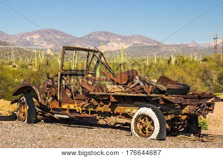 Vintage Truck Stripped & Abandoned In Arizona Desert