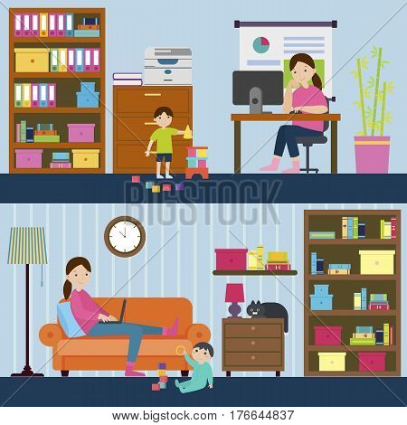Colorful motherhood horizontal banners with mother working on maternity leave at home and freelancer mom vector illustration