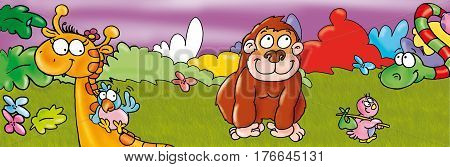 The monkey with giraffe and striped snake Humorous illustration for kids