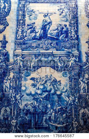Characteristic tilework called Azulejo on Capela das Almas church in Porto Portugal