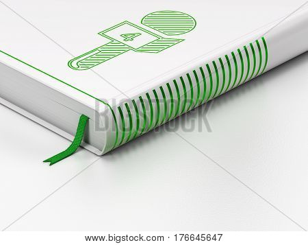 News concept: closed book with Green Microphone icon on floor, white background, 3D rendering