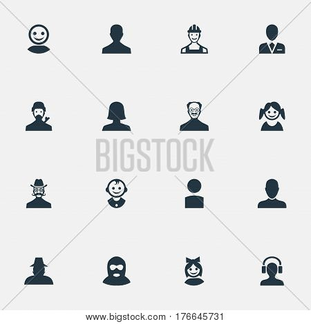 Vector Illustration Set Of Simple Avatar Icons. Elements Whiskers Man, Internet Profile, Felon And Other Synonyms Business, Man And Culprit.