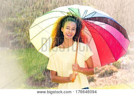 Beautiful Afroamerican Woman With Umbrella