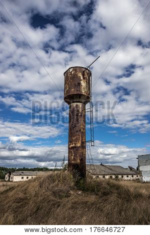 Water tower of former Soviet collective farm in abandoned Masheve settlement Chernobyl Exclusion Zone Ukraine