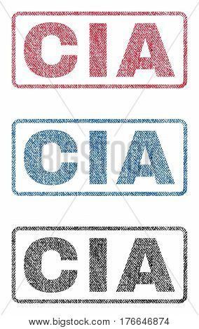 CIA text textile seal stamp watermarks. Blue, red, black fabric vectorized texture. Vector caption inside rounded rectangular banner. Rubber emblem with fiber textile structure.