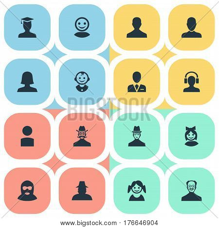 Vector Illustration Set Of Simple Human Icons. Elements Woman User, Workman, Felon And Other Synonyms Young, Graduate And Business.