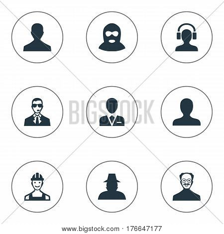 Vector Illustration Set Of Simple Avatar Icons. Elements Workman, Agent, Male User And Other Synonyms Business, Felon And Inspector.