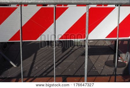 Red And White Striped Fence
