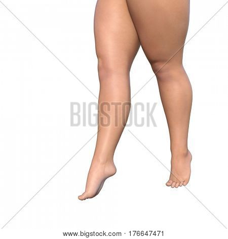 Concept or conceptual big fat overweight obese young woman body, cellulite female legs 3D illustration isolated on background