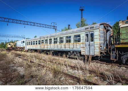 Train on deserted Yaniv railroad station near Pripyat city in Chernobyl Exclusion Zone Ukraine