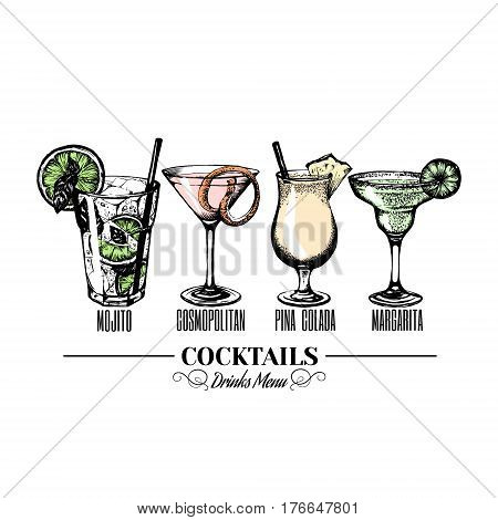 Vector illustration of alcoholic cocktaisl. Hand drawn sketch of mojito margarita pina colada and cosmopolitan with slice of lime and straw. Bar menu design. Cocktail party icon. Template for card and poster