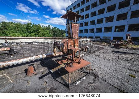 Factory building in abandoned Pripyat city in Chernobyl Exclusion Zone Ukraine