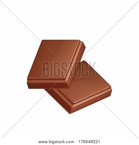 Black chocolate bar isolated on white background. Two chocolate pieces vector illustration.