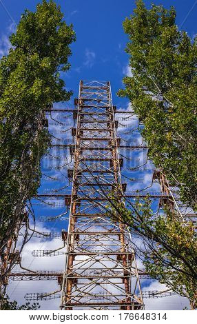 Soviet Duga radar from Cold War period in Chernobyl Exclusion Zone Ukraine