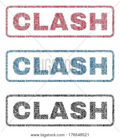 Clash text textile seal stamp watermarks. Blue, red, black fabric vectorized texture. Vector caption inside rounded rectangular shape. Rubber sign with fiber textile structure.