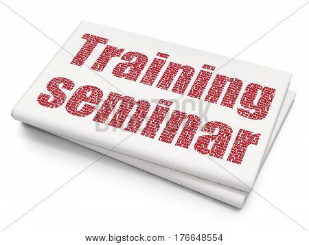 Learning concept: Pixelated red text Training Seminar on Blank Newspaper background, 3D rendering