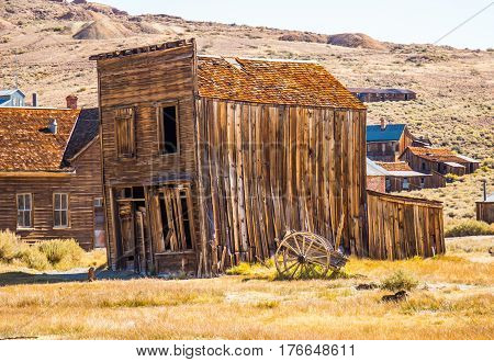 Leaning Two Story Wooden Building In California Ghost Town