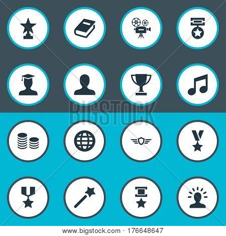Vector Illustration Set Of Simple Trophy Icons. Elements Prize, Literature, Award And Other Synonyms Star, Member And World.