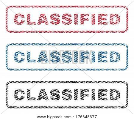Classified text textile seal stamp watermarks. Blue, red, black fabric vectorized texture. Vector caption inside rounded rectangular banner. Rubber emblem with fiber textile structure.