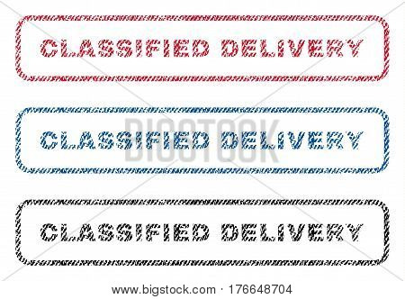 Classified Delivery text textile seal stamp watermarks. Blue, red, black fabric vectorized texture. Vector tag inside rounded rectangular banner. Rubber sign with fiber textile structure.