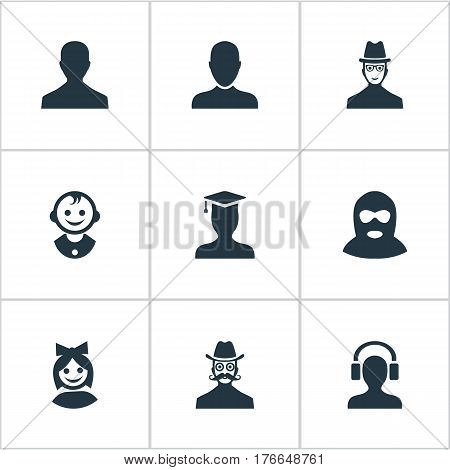 Vector Illustration Set Of Simple Human Icons. Elements Male User, Young Shaver, Spy And Other Synonyms Little, Postgraduate And Student.