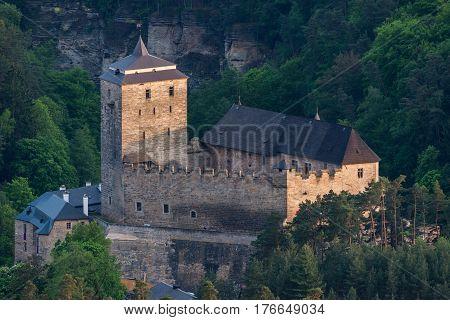 Kost Castle in Bohemian Paradise. Czech Republic. Aerial photo