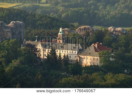 Chateau Hruba Skala in the Czech Paradise on an aerial photograph. Czech republic