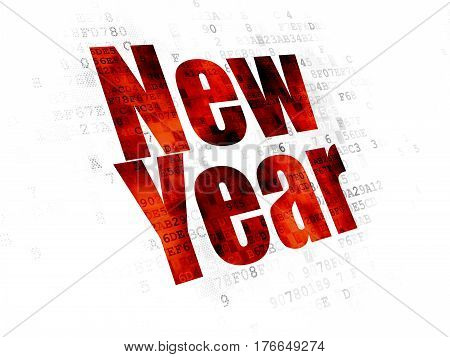 Holiday concept: Pixelated red text New Year on Digital background