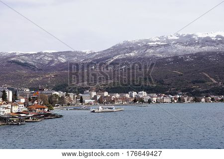 OHRID MACEDONIA - MARCH 04 2016: Panorama of the city and Lake Ohrid. Ohrid is the largest city on Lake Ohrid and both are part of UNESCO's Natural and Cultural Heritage