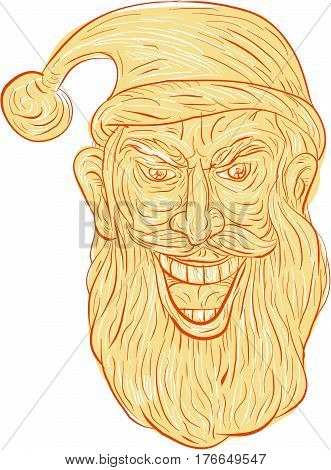 Drawing sketch style illustration of an evil looking sinister and devilish santa claus with a wide grin viewed from front set on isolated white background/