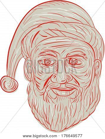 Drawing sketch style illustration of a melancholy Santa Claus looking sad gloomy and dejected viewed from front set on isolated white background.