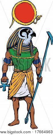 Illustration of the ancient Egyptian god Rah with staff and sun disk